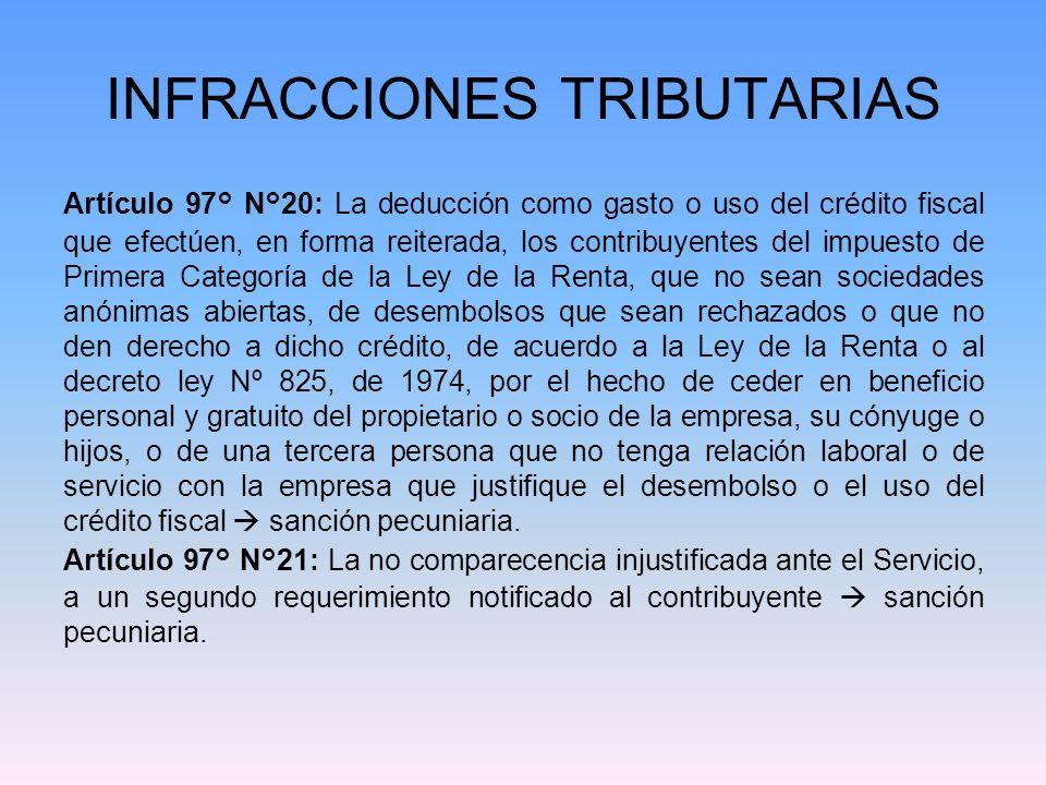 INFRACCIONES TRIBUTARIAS Artículo 97° N°20: La deducción como gasto o uso del crédito fiscal que efectúen, en forma reiterada, los contribuyentes del