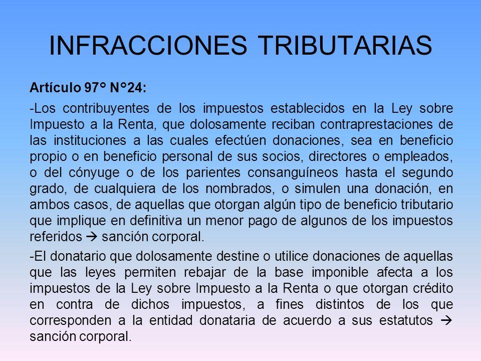 INFRACCIONES TRIBUTARIAS Artículo 97° N°24: -Los contribuyentes de los impuestos establecidos en la Ley sobre Impuesto a la Renta, que dolosamente rec