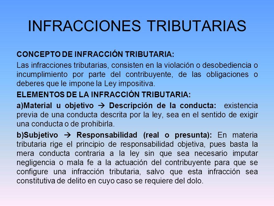 INFRACCIONES TRIBUTARIAS CONCEPTO DE INFRACCIÓN TRIBUTARIA: Las infracciones tributarias, consisten en la violación o desobediencia o incumplimiento p
