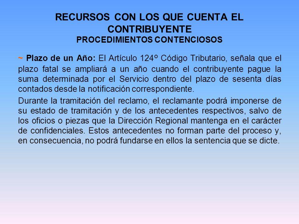 RECURSOS CON LOS QUE CUENTA EL CONTRIBUYENTE PROCEDIMIENTOS CONTENCIOSOS ~ Plazo de un Año: El Artículo 124° Código Tributario, señala que el plazo fa