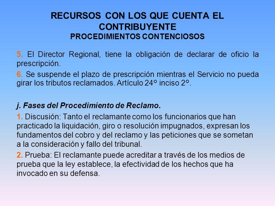 RECURSOS CON LOS QUE CUENTA EL CONTRIBUYENTE PROCEDIMIENTOS CONTENCIOSOS 5. El Director Regional, tiene la obligación de declarar de oficio la prescri