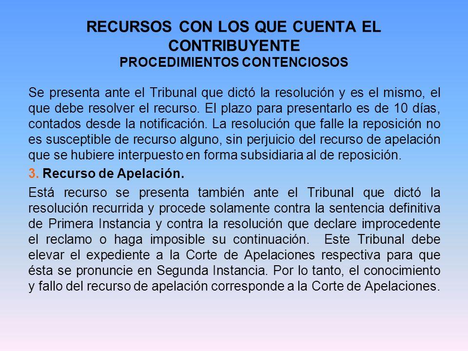 RECURSOS CON LOS QUE CUENTA EL CONTRIBUYENTE PROCEDIMIENTOS CONTENCIOSOS Se presenta ante el Tribunal que dictó la resolución y es el mismo, el que de