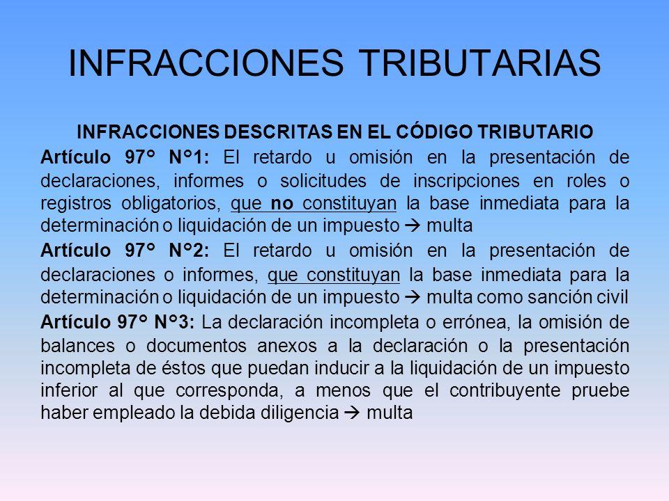 INFRACCIONES TRIBUTARIAS INFRACCIONES DESCRITAS EN EL CÓDIGO TRIBUTARIO Artículo 97° N°1: El retardo u omisión en la presentación de declaraciones, in