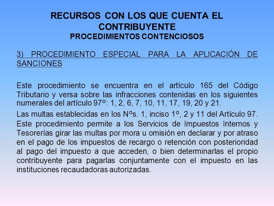 RECURSOS CON LOS QUE CUENTA EL CONTRIBUYENTE PROCEDIMIENTOS CONTENCIOSOS 3) PROCEDIMIENTO ESPECIAL PARA LA APLICACIÓN DE SANCIONES Este procedimiento