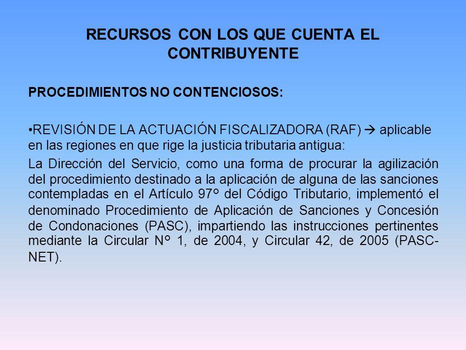 RECURSOS CON LOS QUE CUENTA EL CONTRIBUYENTE PROCEDIMIENTOS NO CONTENCIOSOS: REVISIÓN DE LA ACTUACIÓN FISCALIZADORA (RAF) aplicable en las regiones en