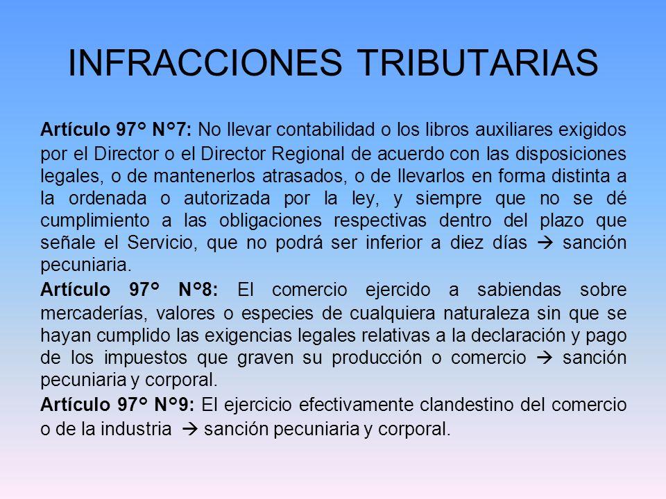 INFRACCIONES TRIBUTARIAS Artículo 97° N°7: No llevar contabilidad o los libros auxiliares exigidos por el Director o el Director Regional de acuerdo c