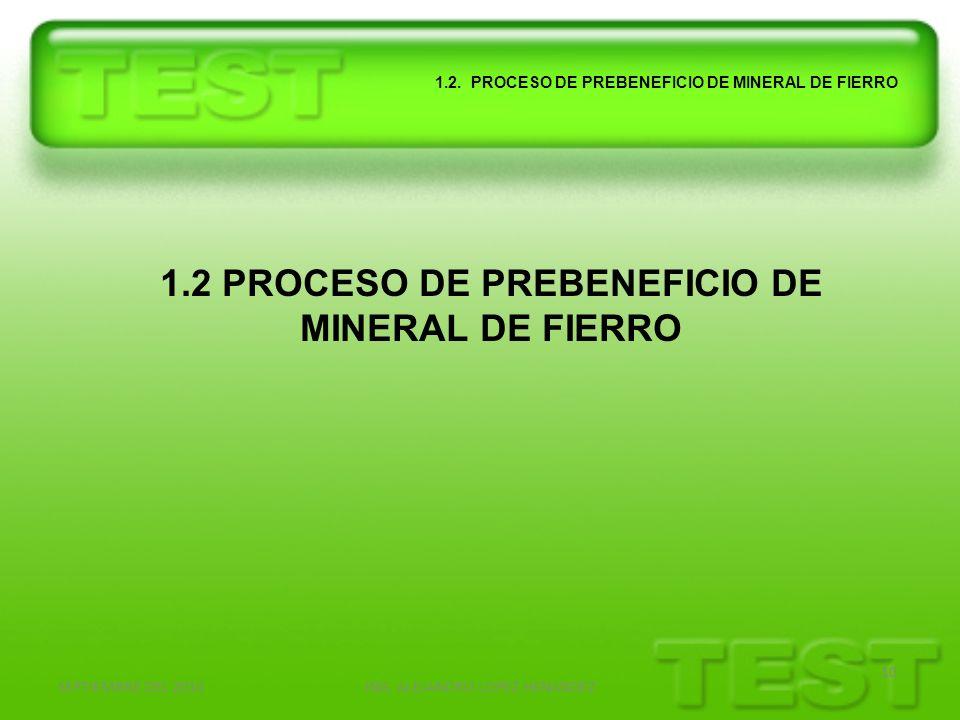SEPTIEMBRE DEL 2010ING. ALEJANDRO LOPEZ HENANDEZ 10 1.2. PROCESO DE PREBENEFICIO DE MINERAL DE FIERRO 1.2 PROCESO DE PREBENEFICIO DE MINERAL DE FIERRO