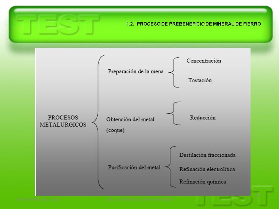 SEPTIEMBRE DEL 2010ING. ALEJANDRO LOPEZ HENANDEZ 11 1.2. PROCESO DE PREBENEFICIO DE MINERAL DE FIERRO