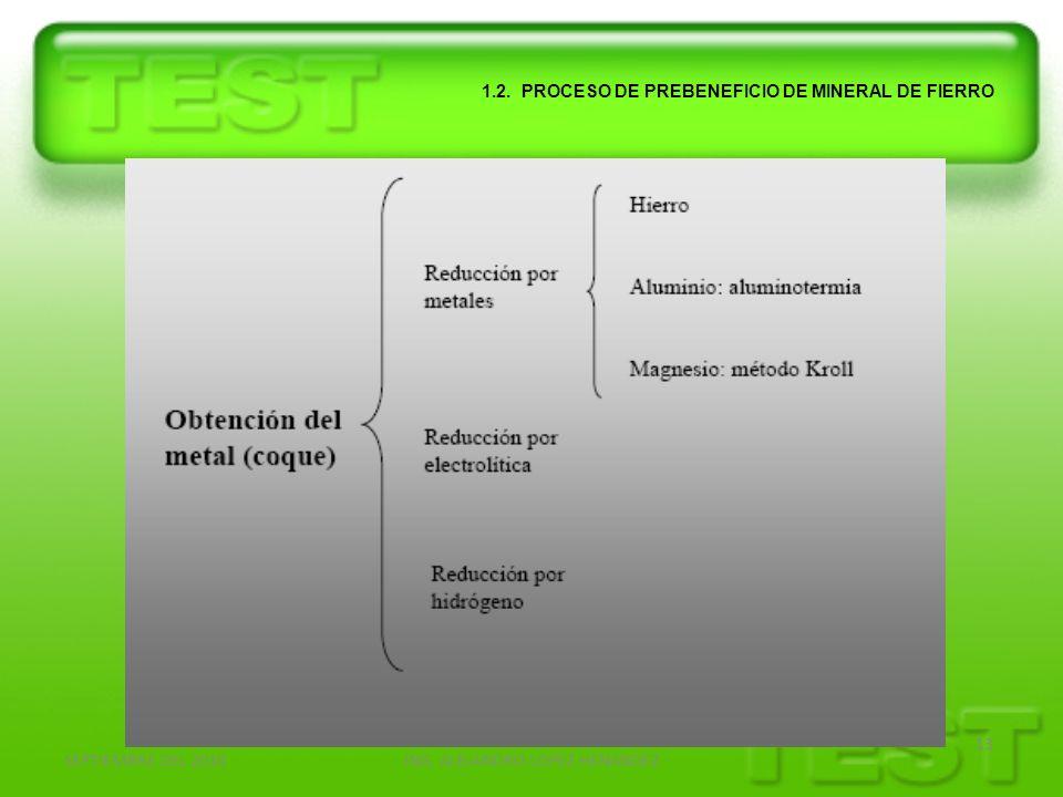 SEPTIEMBRE DEL 2010ING. ALEJANDRO LOPEZ HENANDEZ 13 1.2. PROCESO DE PREBENEFICIO DE MINERAL DE FIERRO