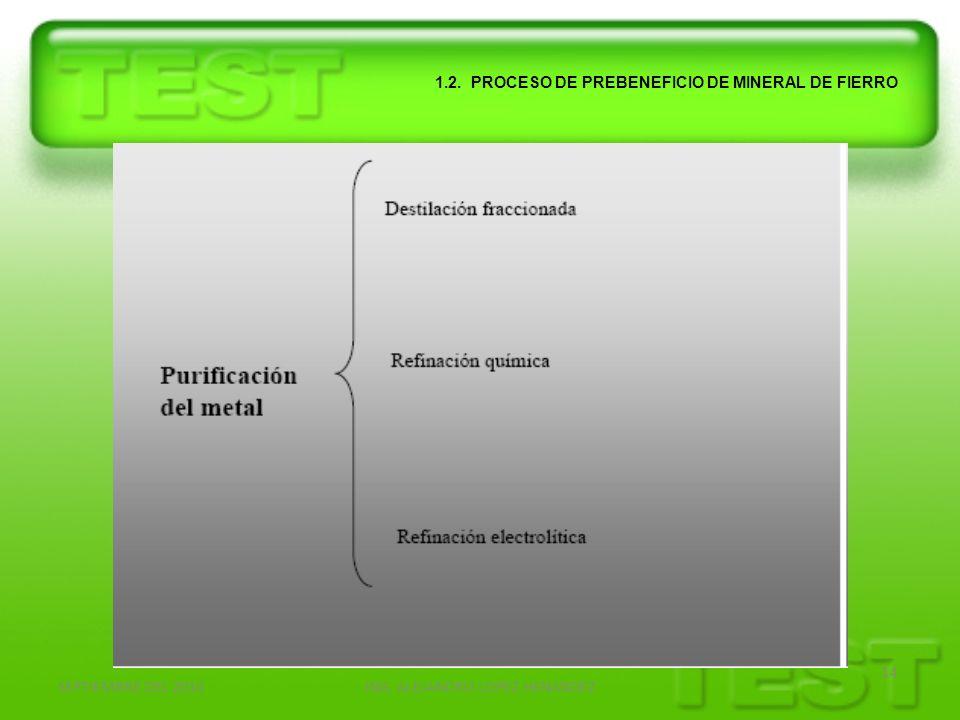 SEPTIEMBRE DEL 2010ING. ALEJANDRO LOPEZ HENANDEZ 14 1.2. PROCESO DE PREBENEFICIO DE MINERAL DE FIERRO