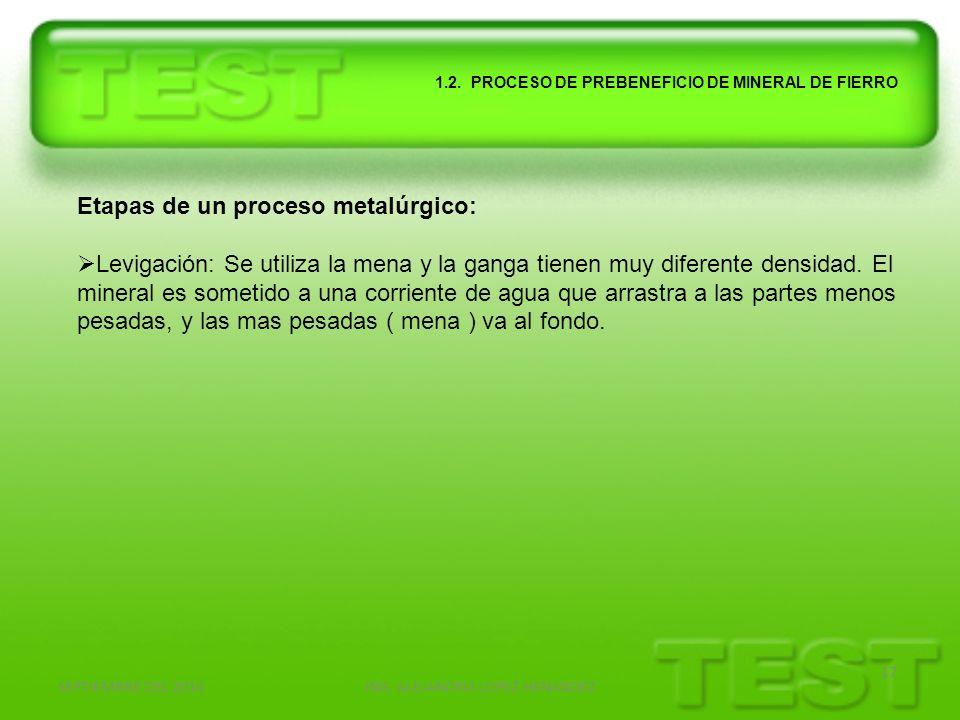 SEPTIEMBRE DEL 2010ING. ALEJANDRO LOPEZ HENANDEZ 17 1.2. PROCESO DE PREBENEFICIO DE MINERAL DE FIERRO Etapas de un proceso metalúrgico: Levigación: Se