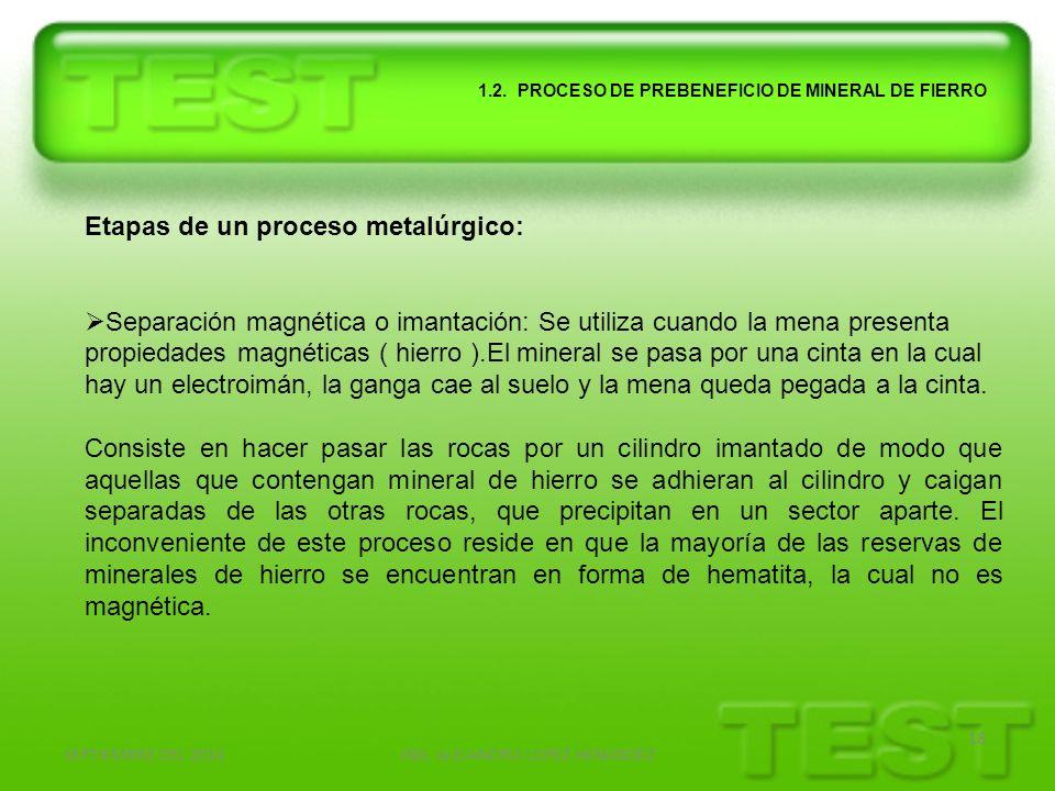 SEPTIEMBRE DEL 2010ING. ALEJANDRO LOPEZ HENANDEZ 18 1.2. PROCESO DE PREBENEFICIO DE MINERAL DE FIERRO Etapas de un proceso metalúrgico: Separación mag