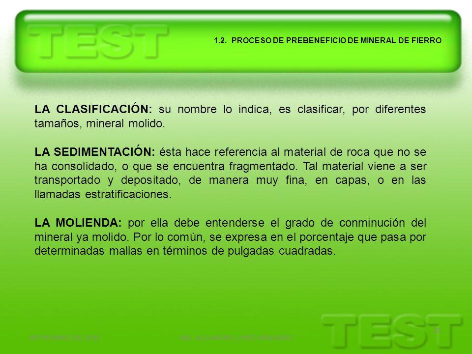 SEPTIEMBRE DEL 2010ING. ALEJANDRO LOPEZ HENANDEZ 20 1.2. PROCESO DE PREBENEFICIO DE MINERAL DE FIERRO LA CLASIFICACIÓN: su nombre lo indica, es clasif