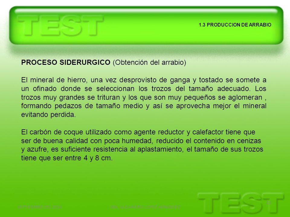 SEPTIEMBRE DEL 2010ING. ALEJANDRO LOPEZ HENANDEZ 23 1.3 PRODUCCION DE ARRABIO PROCESO SIDERURGICO (Obtención del arrabio) El mineral de hierro, una ve