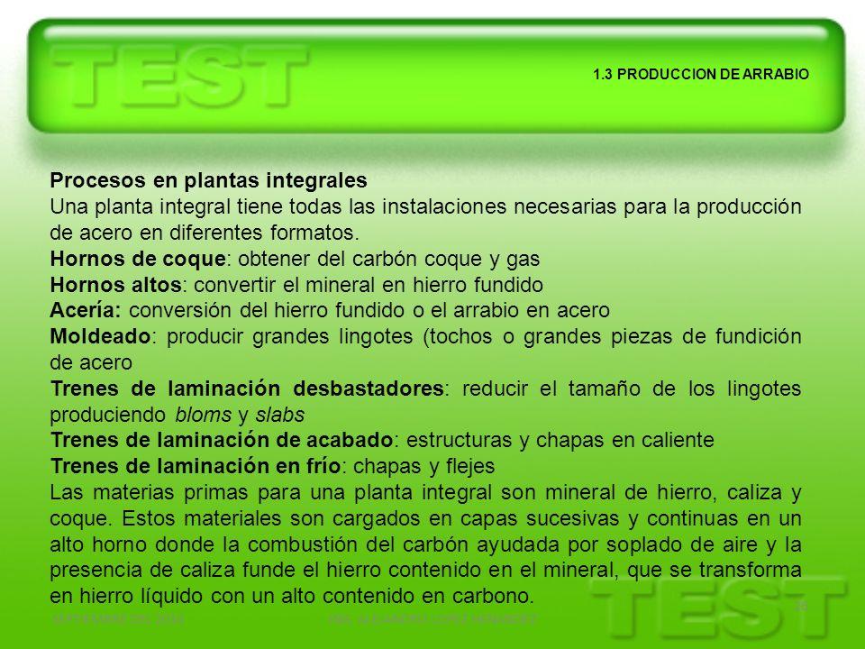 SEPTIEMBRE DEL 2010ING. ALEJANDRO LOPEZ HENANDEZ 26 1.3 PRODUCCION DE ARRABIO Procesos en plantas integrales Una planta integral tiene todas las insta