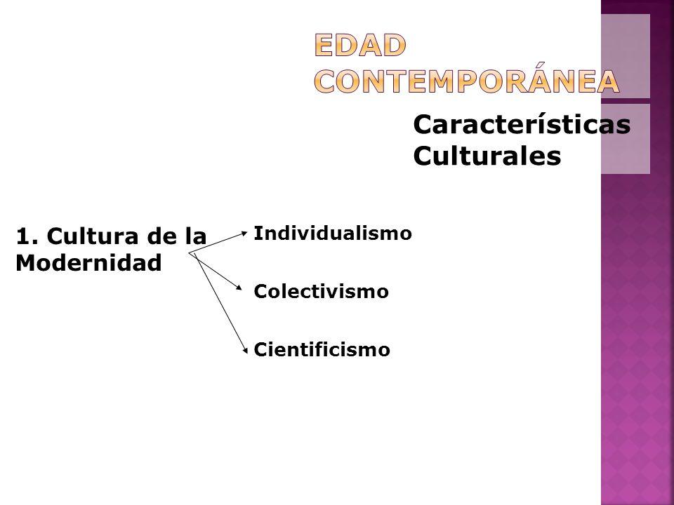 Características Culturales 1. Cultura de la Modernidad Individualismo Colectivismo Cientificismo