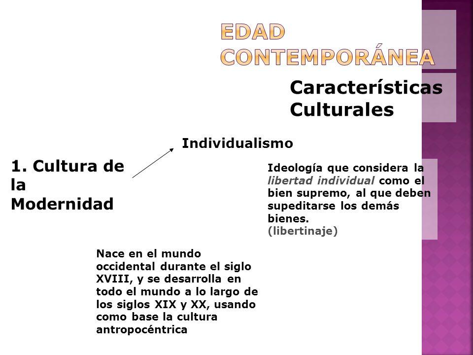 Características Culturales 1. Cultura de la Modernidad Individualismo Ideología que considera la libertad individual como el bien supremo, al que debe
