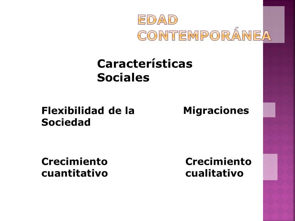 Características Sociales Flexibilidad de la Sociedad Crecimiento cuantitativo Crecimiento cualitativo Migraciones