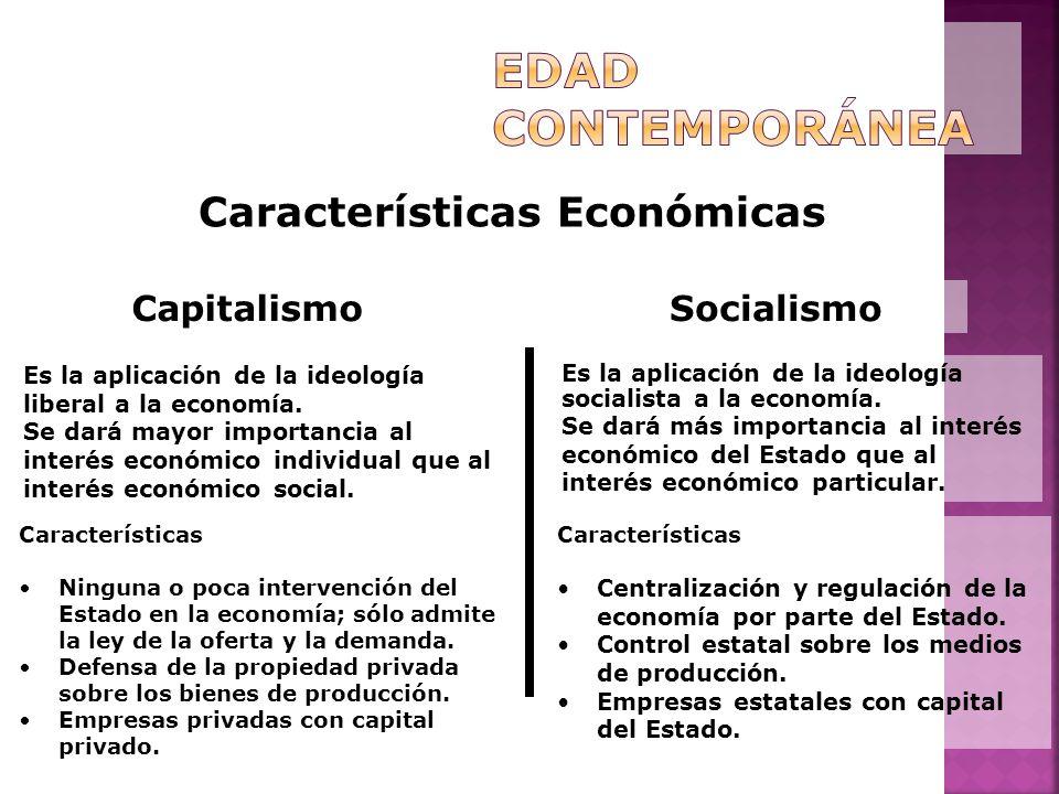 Características Económicas Capitalismo Es la aplicación de la ideología liberal a la economía. Se dará mayor importancia al interés económico individu
