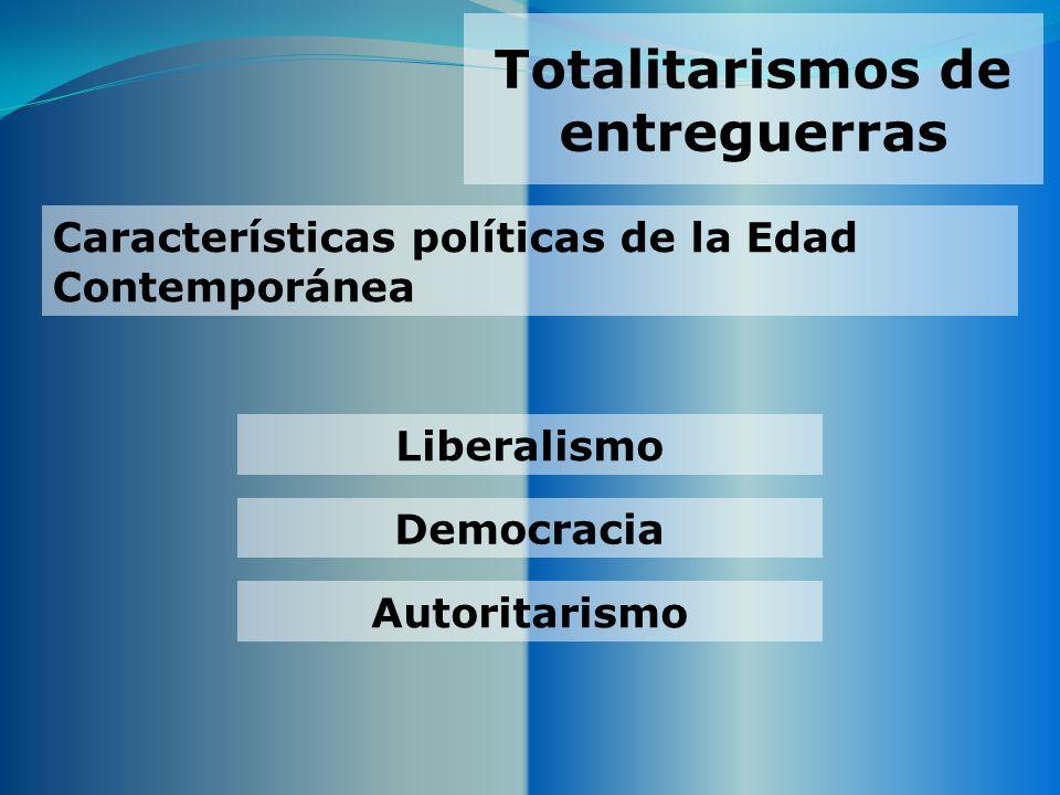 Totalitarismos de entreguerras Democracia Características políticas de la Edad Contemporánea Autoritarismo Liberalismo