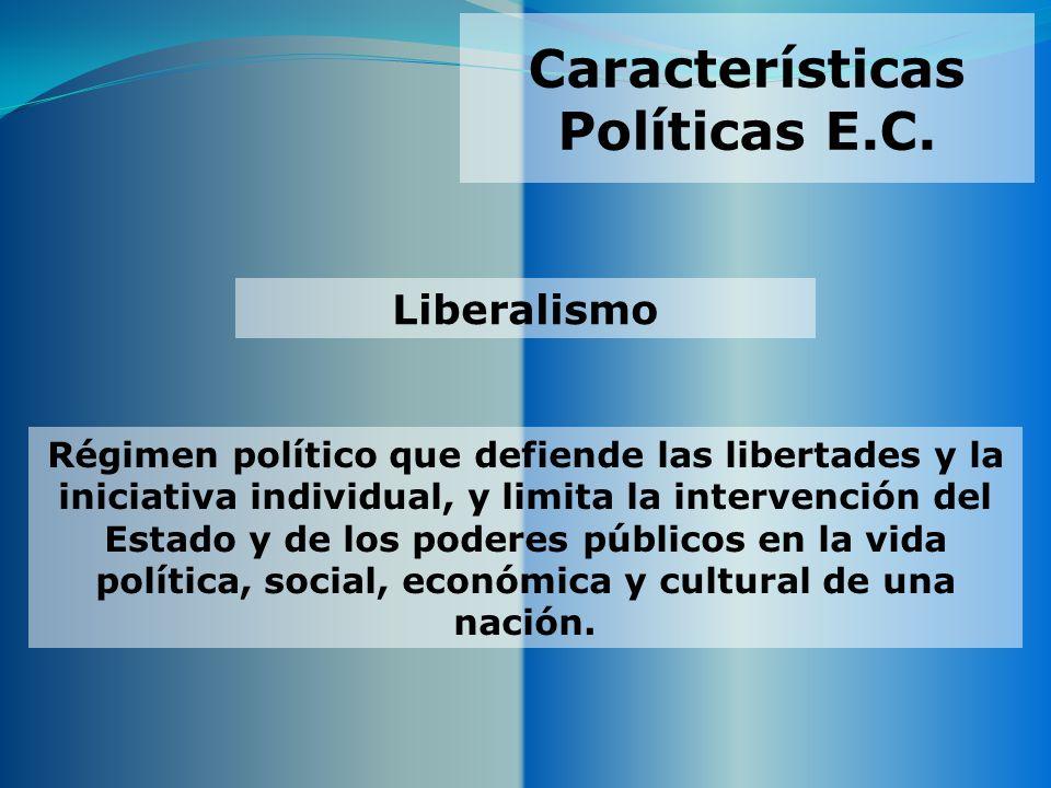 Características Políticas E.C. Régimen político que defiende las libertades y la iniciativa individual, y limita la intervención del Estado y de los p