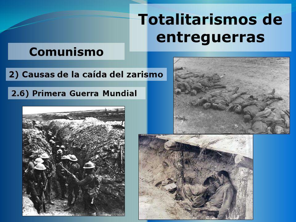 Totalitarismos de entreguerras 2) Causas de la caída del zarismo Comunismo 2.6) Primera Guerra Mundial