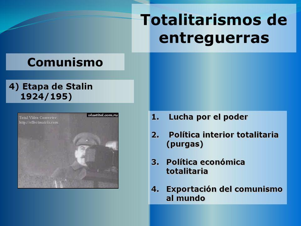 Totalitarismos de entreguerras 4) Etapa de Stalin 1924/195) Comunismo 1. Lucha por el poder 2. Política interior totalitaria (purgas) 3.Política econó