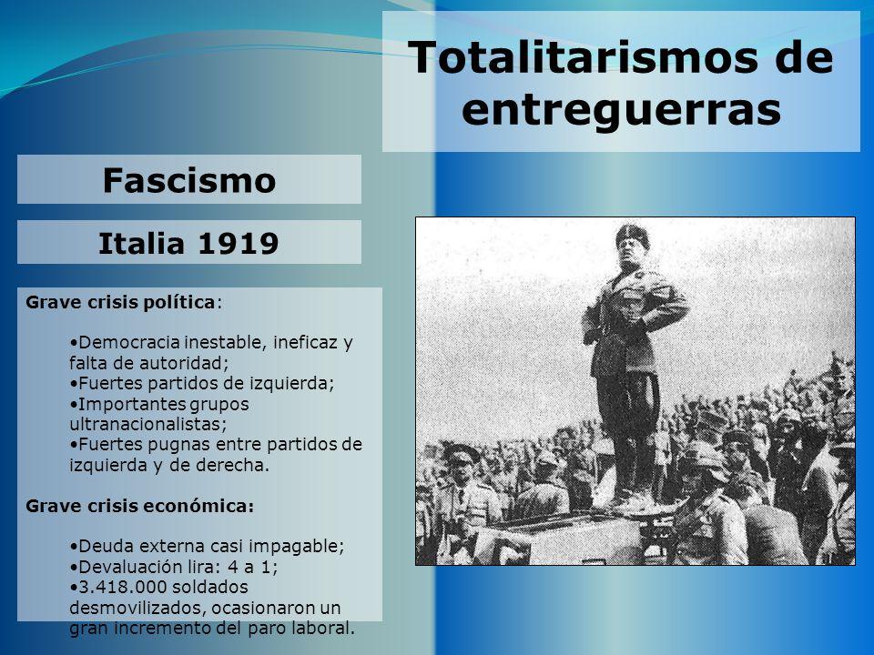 Totalitarismos de entreguerras Fascismo Grave crisis política: Democracia inestable, ineficaz y falta de autoridad; Fuertes partidos de izquierda; Imp