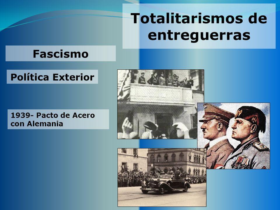 Totalitarismos de entreguerras Fascismo Política Exterior 1939- Pacto de Acero con Alemania