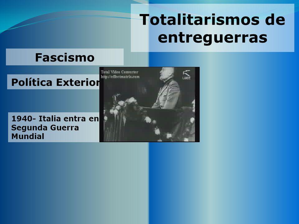 Totalitarismos de entreguerras Fascismo Política Exterior 1940- Italia entra en la Segunda Guerra Mundial