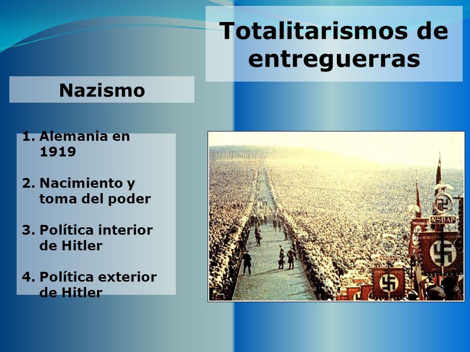 Totalitarismos de entreguerras Nazismo 1.Alemania en 1919 2.Nacimiento y toma del poder 3.Política interior de Hitler 4.Política exterior de Hitler