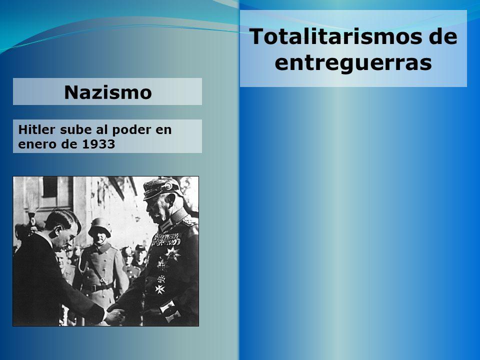 Totalitarismos de entreguerras Nazismo Hitler sube al poder en enero de 1933