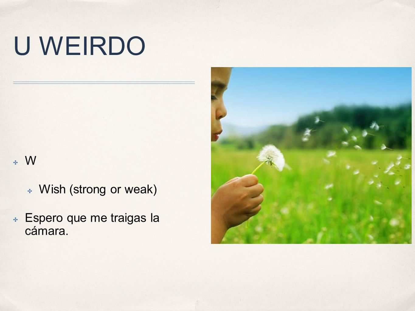 U WEIRDO W Wish (strong or weak) Espero que me traigas la cámara.