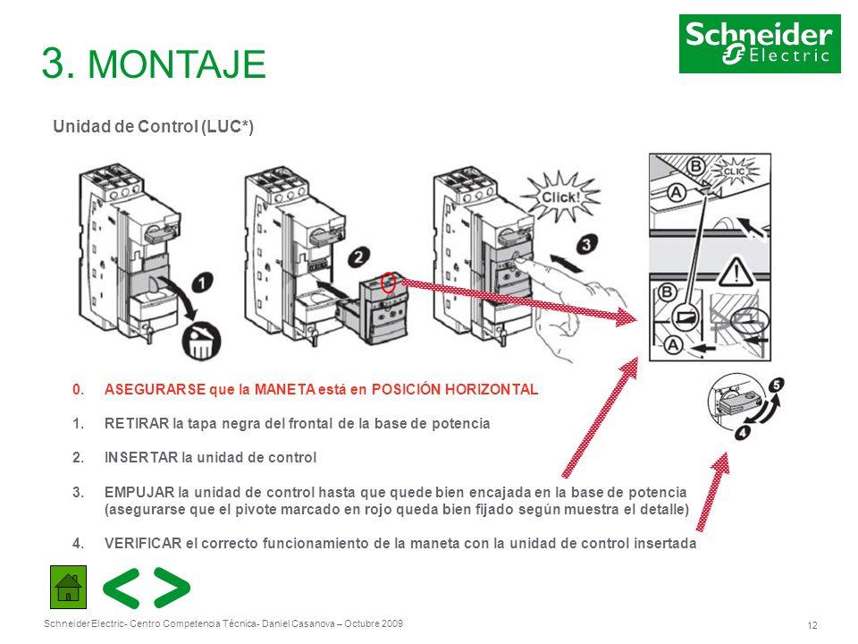 Schneider Electric 12 - Centro Competencia Técnica- Daniel Casanova – Octubre 2009 3. MONTAJE Unidad de Control (LUC*) 0. ASEGURARSE que la MANETA est