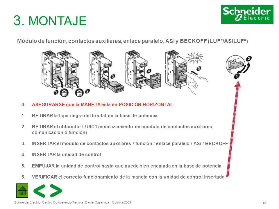 Schneider Electric 15 - Centro Competencia Técnica- Daniel Casanova – Octubre 2009 3. MONTAJE Módulo de función, contactos auxiliares, enlace paralelo