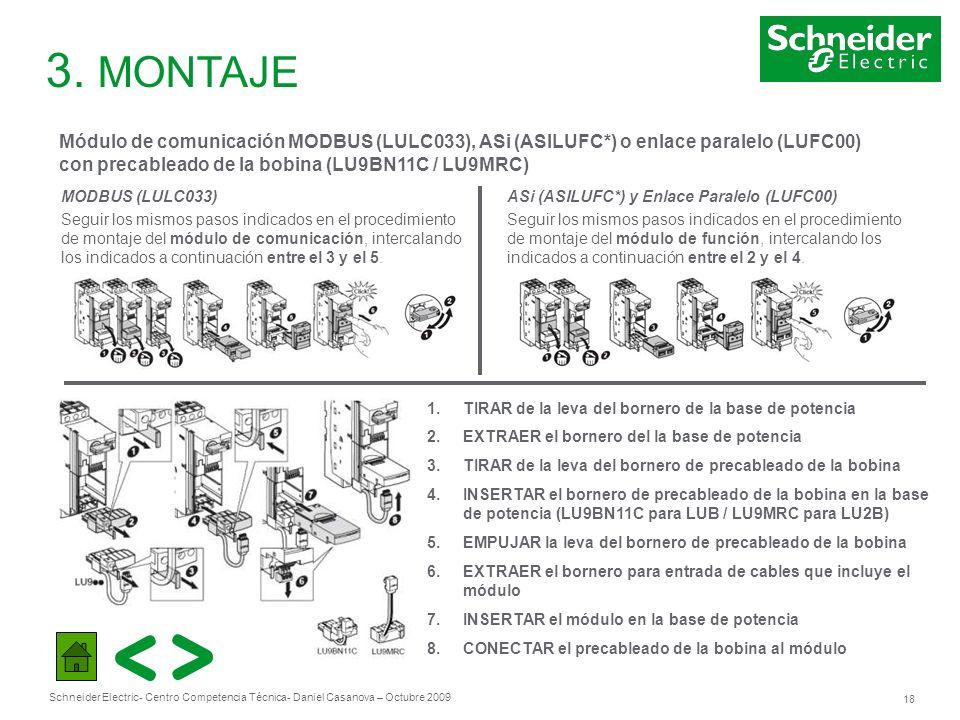 Schneider Electric 18 - Centro Competencia Técnica- Daniel Casanova – Octubre 2009 3. MONTAJE Módulo de comunicación MODBUS (LULC033), ASi (ASILUFC*)