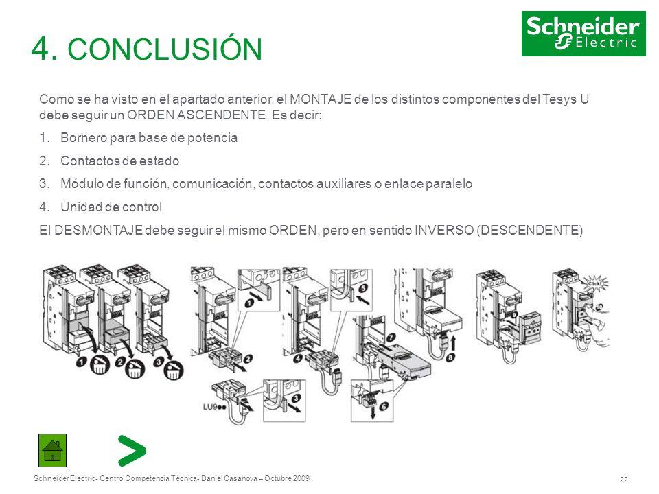 Schneider Electric 22 - Centro Competencia Técnica- Daniel Casanova – Octubre 2009 4. CONCLUSIÓN Como se ha visto en el apartado anterior, el MONTAJE