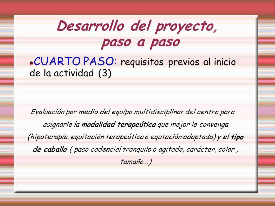 Desarrollo del proyecto, paso a paso CUARTO PASO: requisitos previos al inicio de la actividad (3) Evaluación por medio del equipo multidisciplinar de