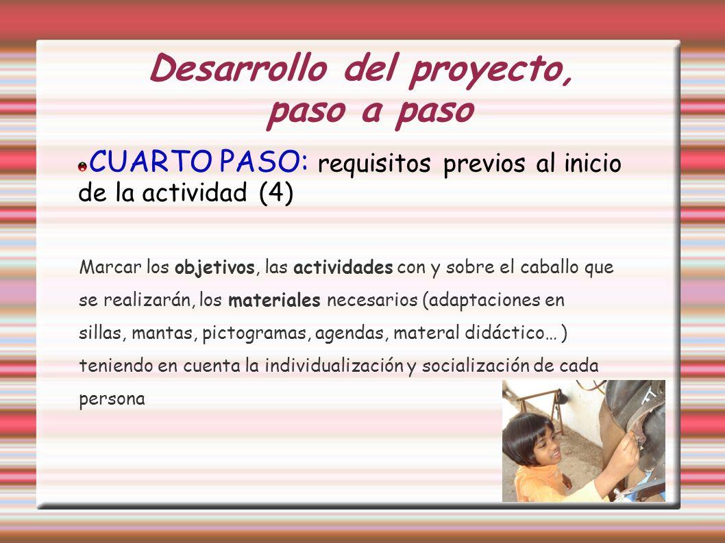 Desarrollo del proyecto, paso a paso CUARTO PASO: requisitos previos al inicio de la actividad (4) Marcar los objetivos, las actividades con y sobre e