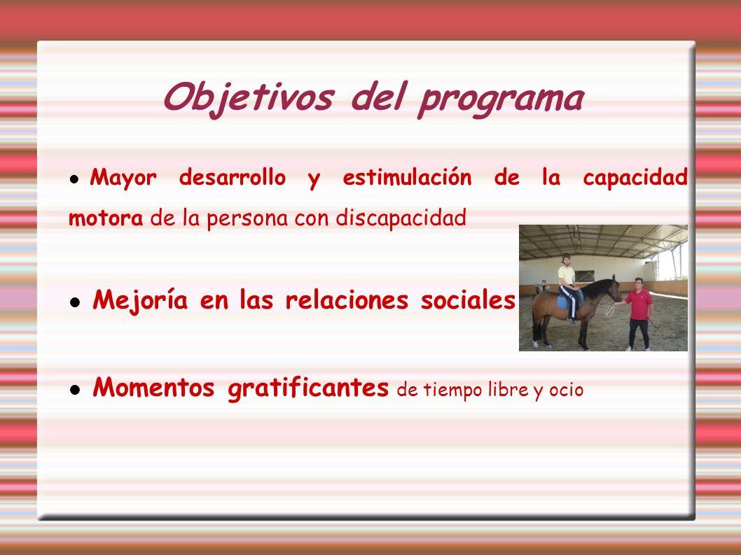 Objetivos del programa Mayor desarrollo y estimulación de la capacidad motora de la persona con discapacidad Mejoría en las relaciones sociales Moment