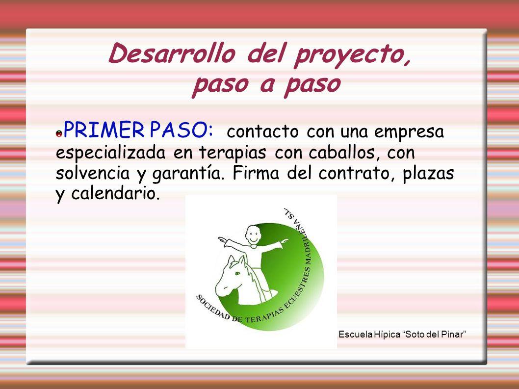 Desarrollo del proyecto, paso a paso PRIMER PASO: contacto con una empresa especializada en terapias con caballos, con solvencia y garantía. Firma del