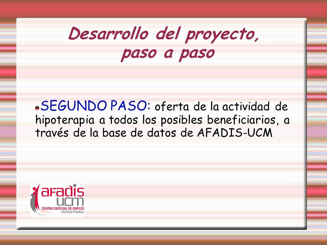 Desarrollo del proyecto, paso a paso SEGUNDO PASO: oferta de la actividad de hipoterapia a todos los posibles beneficiarios, a través de la base de da