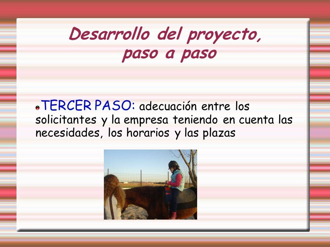 Desarrollo del proyecto, paso a paso TERCER PASO: adecuación entre los solicitantes y la empresa teniendo en cuenta las necesidades, los horarios y la