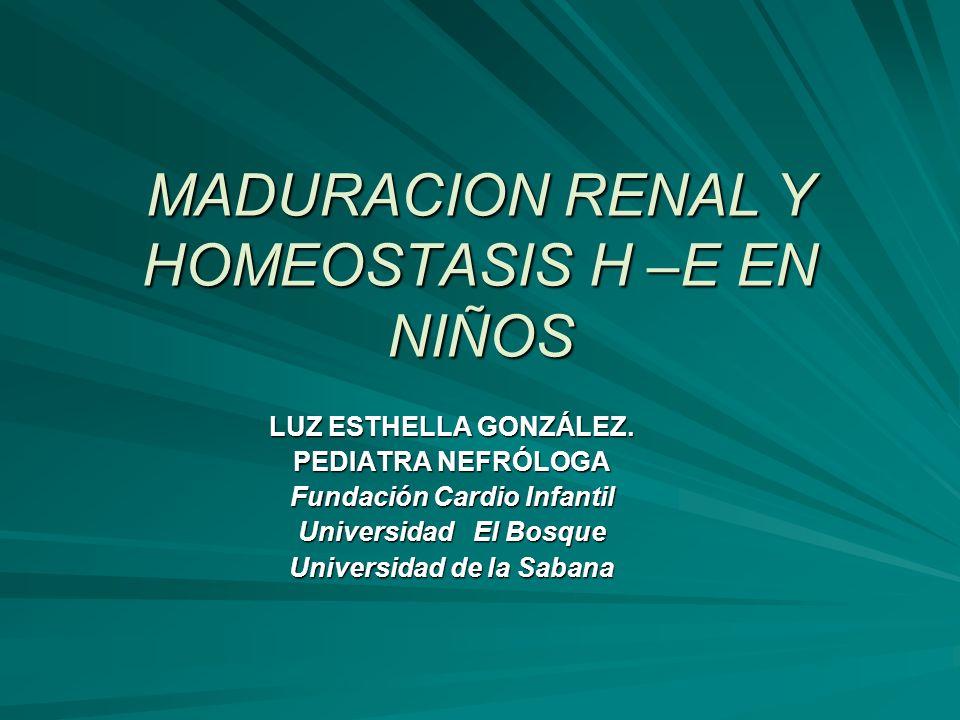 MADURACION RENAL Y HOMEOSTASIS H –E EN NIÑOS LUZ ESTHELLA GONZÁLEZ. PEDIATRA NEFRÓLOGA Fundación Cardio Infantil Universidad El Bosque Universidad de