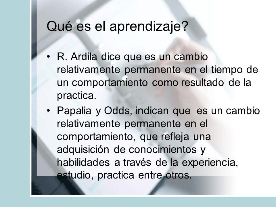 Qué es el aprendizaje? R. Ardila dice que es un cambio relativamente permanente en el tiempo de un comportamiento como resultado de la practica. Papal