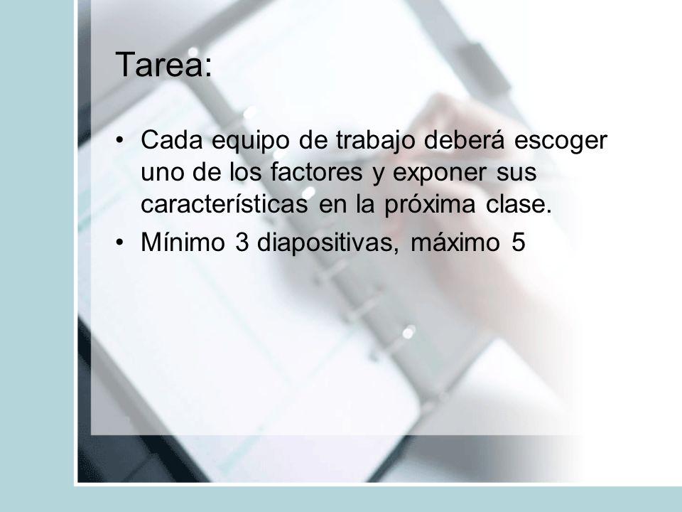 Tarea: Cada equipo de trabajo deberá escoger uno de los factores y exponer sus características en la próxima clase. Mínimo 3 diapositivas, máximo 5