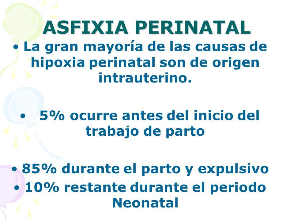 ASFIXIA PERINATAL La gran mayoría de las causas de hipoxia perinatal son de origen intrauterino. 5% ocurre antes del inicio del trabajo de parto 85% d