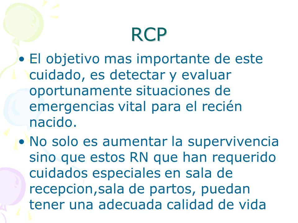 RCP El objetivo mas importante de este cuidado, es detectar y evaluar oportunamente situaciones de emergencias vital para el recién nacido. No solo es