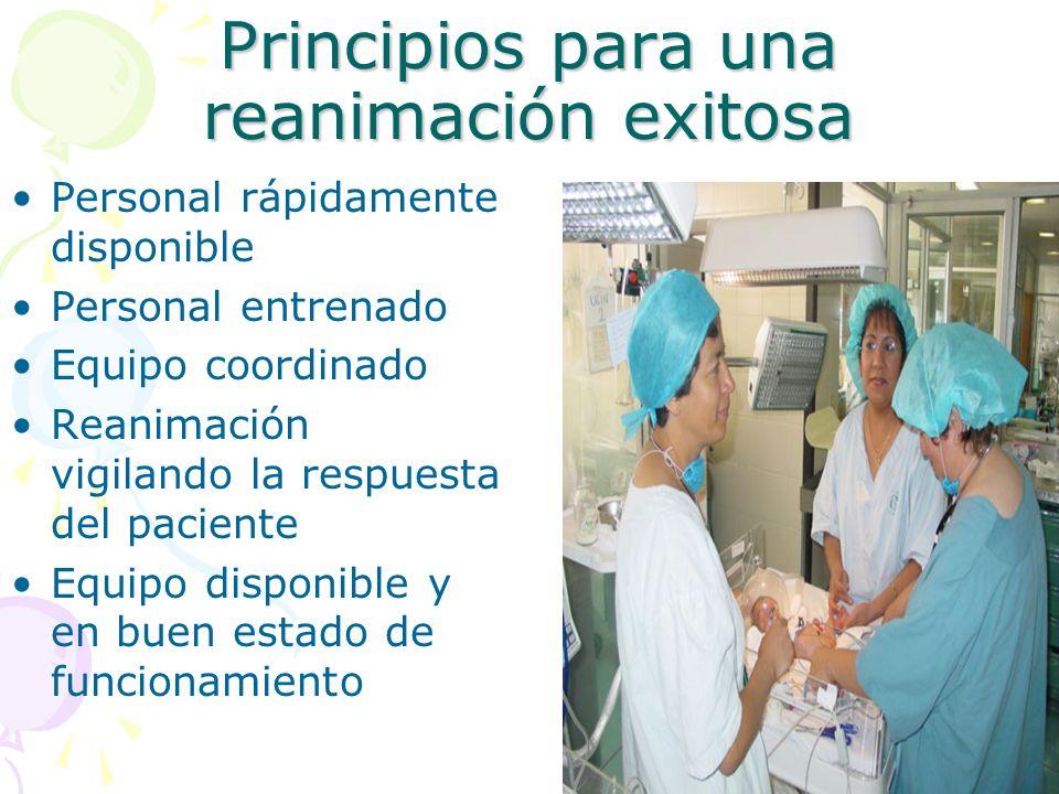 Principios para una reanimación exitosa Personal rápidamente disponible Personal entrenado Equipo coordinado Reanimación vigilando la respuesta del pa