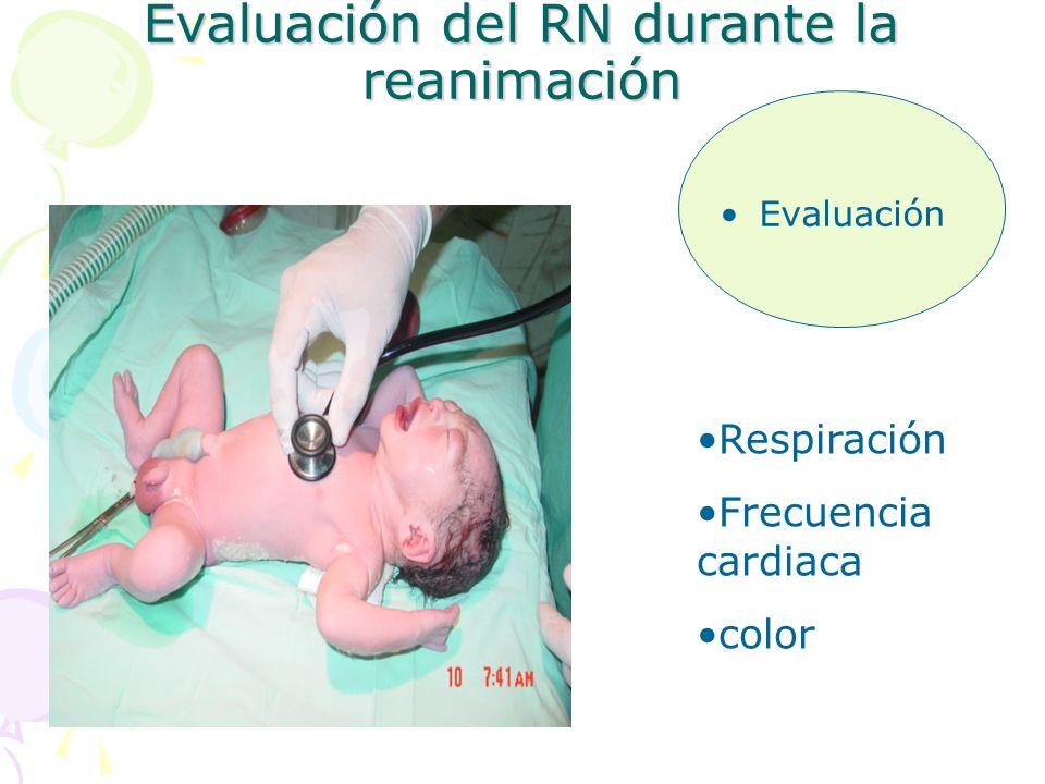 Evaluación del RN durante la reanimación Evaluación Respiración Frecuencia cardiaca color